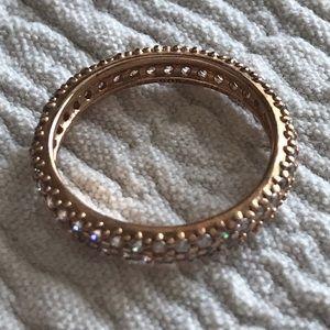 Pandora elegant pave band ring in rose gold